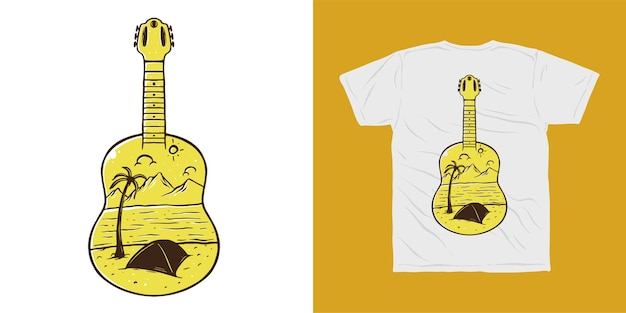 Guitar camp adventure camp tshirt design