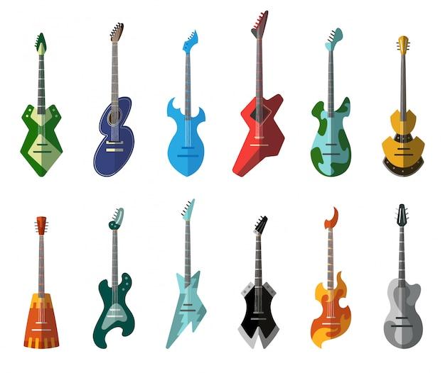 ギターコレクション。形状の異なるアコースティックギターとエレクトリックギター。孤立した