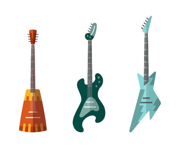 ギターコレクション。形状の異なるアコースティックギターとエレクトリックギター。