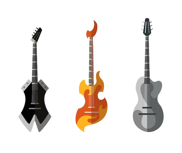 Guitar collection. different shape acoustic and electric guitars. isolated stylish art. colored icons on white background. set of different color rock guitar.