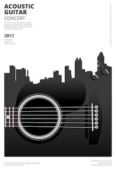 Guitar concert poster background template vector illustration