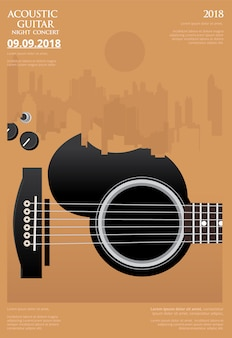 Guitar concert poster template vector illustration