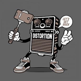 Guitar effect distortion selfie character design