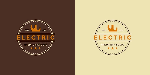 Guitar electric logo design vintage stye idea for your business studio or your community