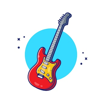 Guitar electric music cartoon icon illustration. music instrument icon concept isolated premium . flat cartoon style