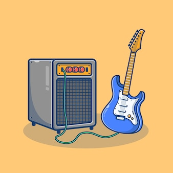 Guitar electric and sound system cartoon illustration