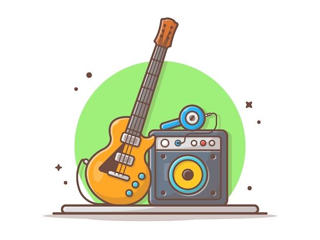 Гитара электрическая с звуком аудио спикер и значок наушников иллюстрации. концерт рок и метал музыки белый изолированный