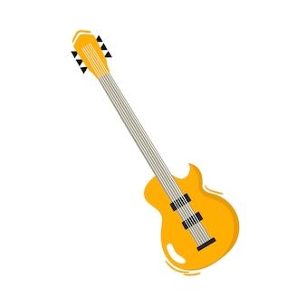 白い漫画ベクトルイラスト音楽祭楽器で分離されたジャズとブルースのギター