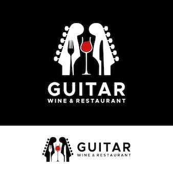 バーカフェレストランナイトクラブのロゴのための2つのギターヘッドを備えたギターフォークナイフライブミュージックコンサート