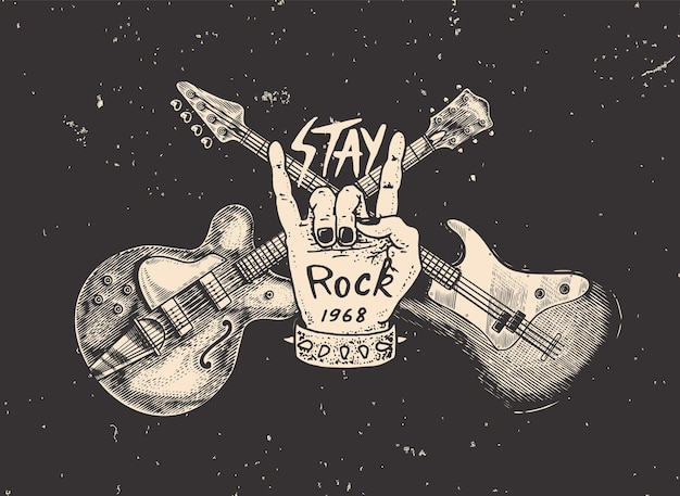 Guitar and hand for jazz festival drawn grunge sketch with a tattoo or tshirt