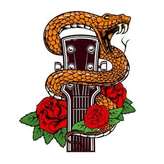ヘビとバラのギターの頭。ポスター、カード、バナー、エンブレム、tシャツの要素。図