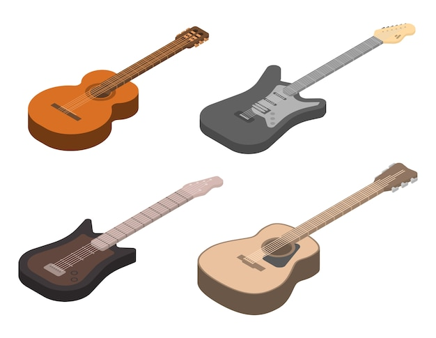 Guitar icons set, isometric style