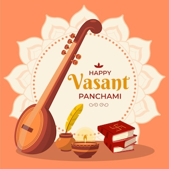 Guitar instrument happy vasant panchami