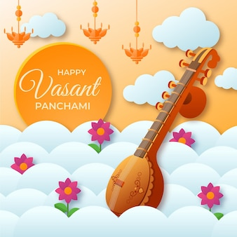 Guitar instrument happy vasant panchami Free Vector