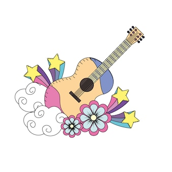 Guitar instrument of music with flowers and stars