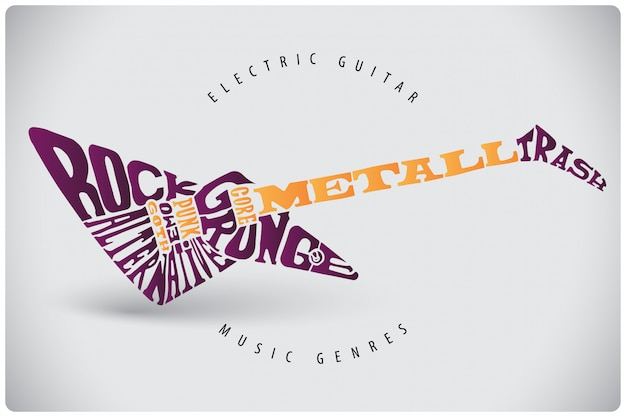 Guitar lettering illustration