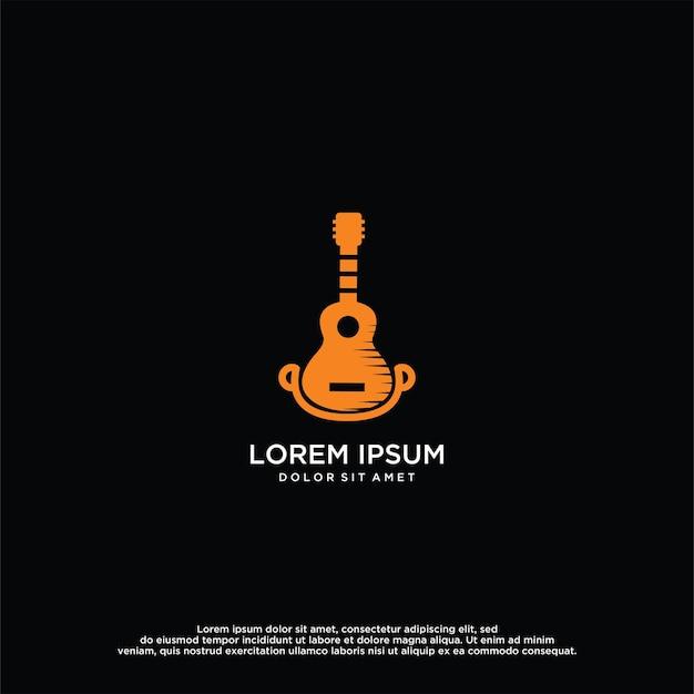 Guitar logo vector design template