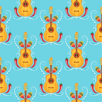 Guitar, maracas, red chili. mexican seamless pattern. decor for cinco de mayo. can be used as wallpaper, wrapping paper, packing, textiles
