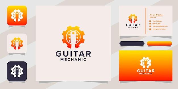 Логотип механика гитары и визитная карточка