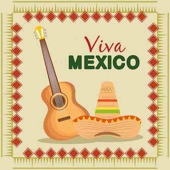 Guitar and mexican hat