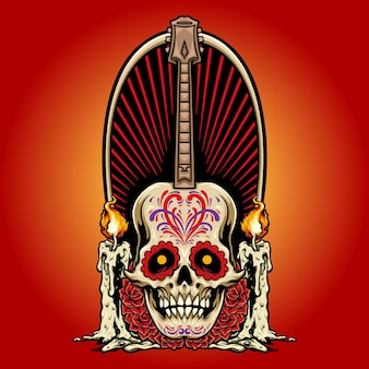Guitar mexican skull with candles roses vector illustrations for your work logo, mascot merchandise t-shirt, stickers and label designs, poster, greeting cards advertising business company or brands.