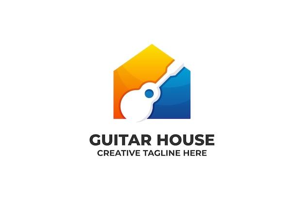 Guitar music gradient business logo