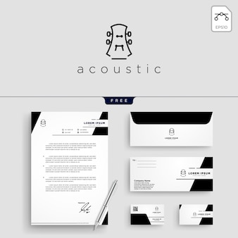 Guitar, music logo template vector illustration