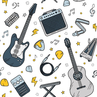 Guitar music seamless pattern in doodle style