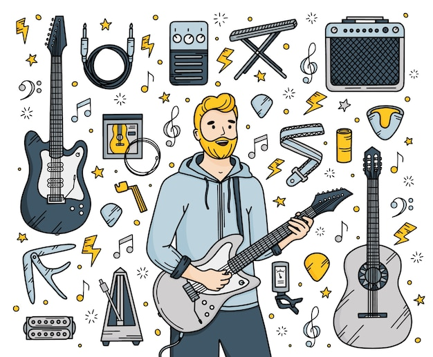 Guitar music set in doodle style with a man guitarist