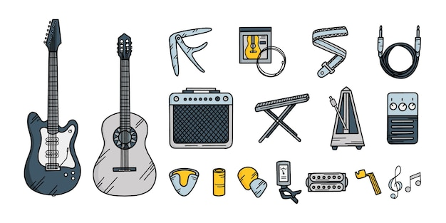 Guitar musical instruments set in doodle style