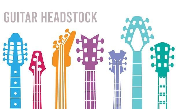 ギターネック。楽器のヘッドストックのシルエットロックギターシンボルコレクション。音楽エレキギターのイラスト