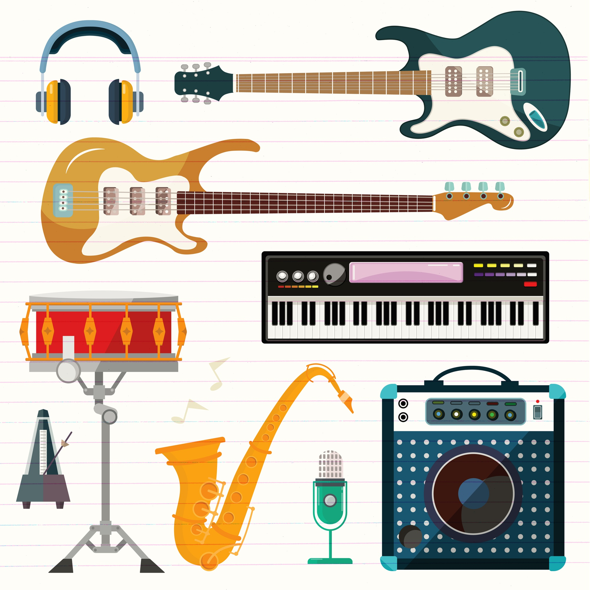 Guitar, piano and drum station vector icons.