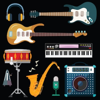 Guitar, piano and drum station vector icons