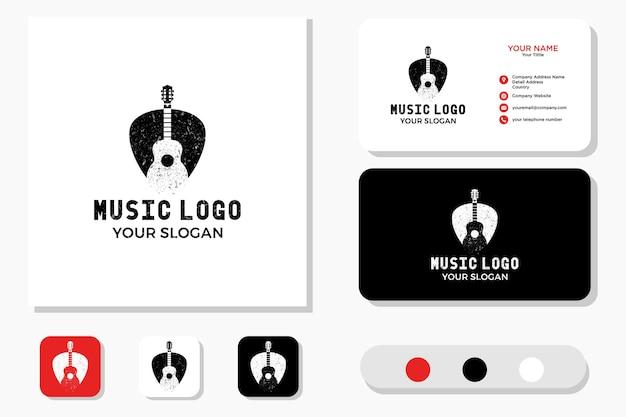 Дизайн логотипа гитары pick и визитная карточка