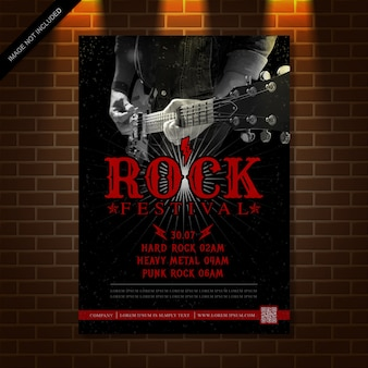 Guitar rock music festival poster design template