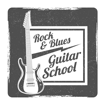 Guitar school grunge logo vector design illlustration isolated on white