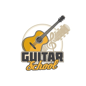 Guitar school icon, music academy and musician education vector symbol. acoustic guitar play and music instruments school sign with guitar and clef note