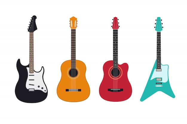 Guitar set, acoustic, classical, electric guitar, electro-acoustic. stringed musical instruments.