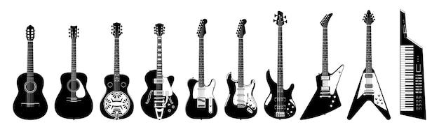 기타 세트. 흰색 바탕에 어쿠스틱 및 일렉트릭 기타입니다. 흑백 그림. 악기. 수집