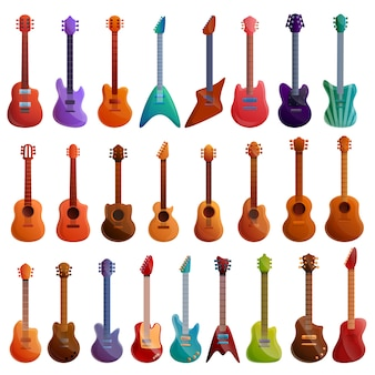 Guitar set, cartoon style