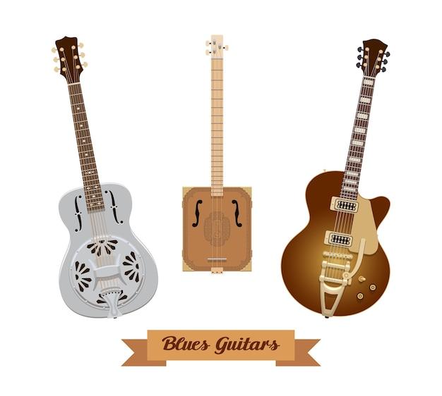 기타 세트. 흰색 바탕에 현실적인 블루스 기타입니다. 악기. 삽화. 수집