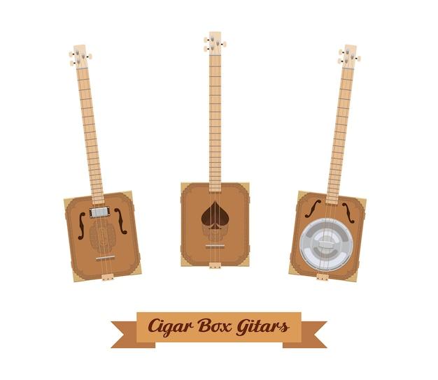 기타 세트. 흰색 바탕에 현실적인 시가 상자 기타입니다. 악기. 삽화. 수집