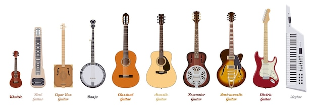 Guitar set. realistic guitars of different types on white background. musical instruments