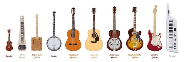 Комплект гитары. реалистичные гитары разных типов на белом фоне. музыкальные инструменты