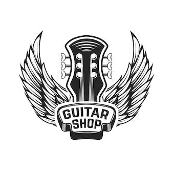 ギターショップ。翼を持つギターの頭。