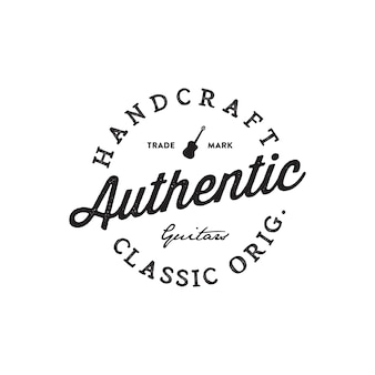 Guitar shop hand written lettering logotype
