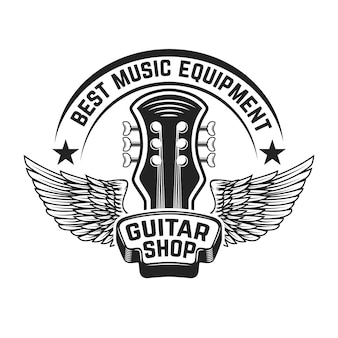 ギターショップラベルテンプレート。翼を持つギターの頭。ポスター、ロゴ、ラベル、エンブレム、記号の要素。図