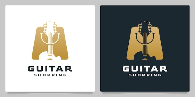 Guitar shopping bag retail with gold logo design