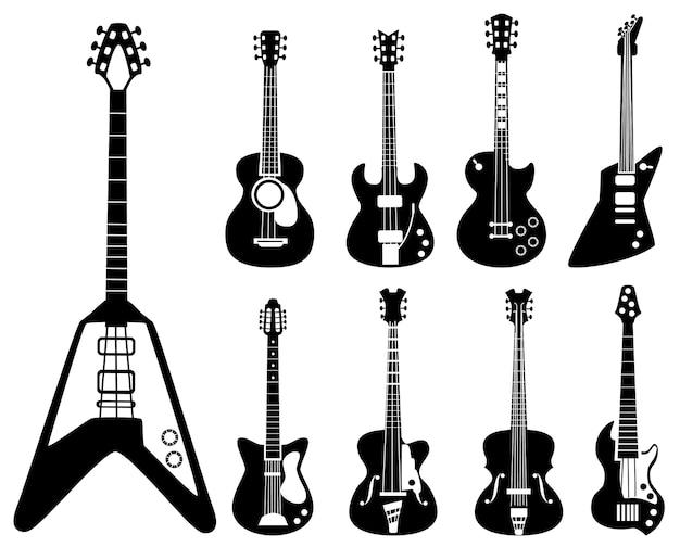 Силуэты гитары. музыкальные инструменты черные символы набор акустических и рок-гитар. электрический инструмент силуэт для рок и акустической гитары иллюстрации