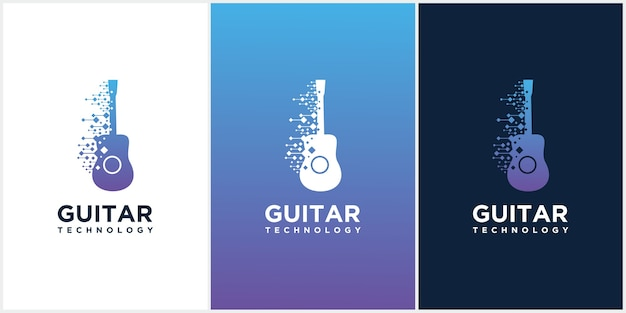 Guitar tech design template, set of acoustic guitar icons, guitar technology music studio logo.